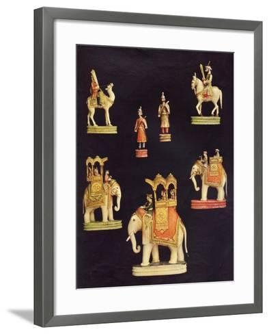 Pieces from an Ivory Chess Set Made in Delhi for Begum Samru in C.1790--Framed Art Print