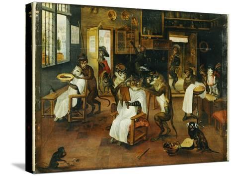 A Singerie: Monkey Barbers Serving Cats-Jan Van, The Elder Kessel-Stretched Canvas Print