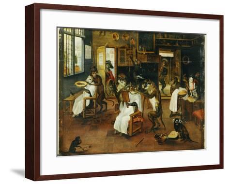 A Singerie: Monkey Barbers Serving Cats-Jan Van, The Elder Kessel-Framed Art Print