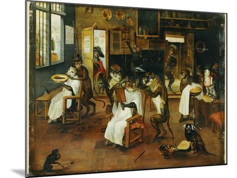 A Singerie: Monkey Barbers Serving Cats-Jan Van, The Elder Kessel-Mounted Giclee Print