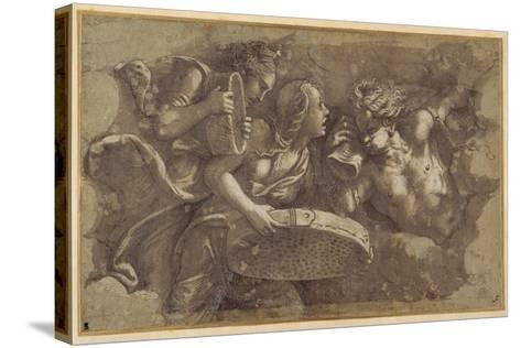 The Vestal Tuccia with the Sieve-Giulio Romano-Stretched Canvas Print