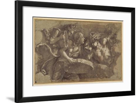 The Vestal Tuccia with the Sieve-Giulio Romano-Framed Art Print