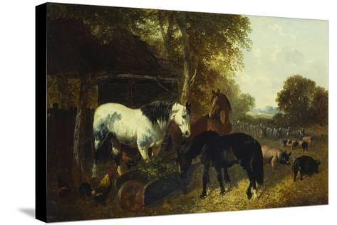 A Farmyard Scene-John Frederick Herring Jnr-Stretched Canvas Print