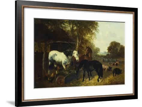 A Farmyard Scene-John Frederick Herring Jnr-Framed Art Print
