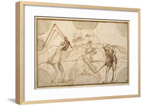 Two Peasants Threshing-Domenico Campagnola-Framed Art Print