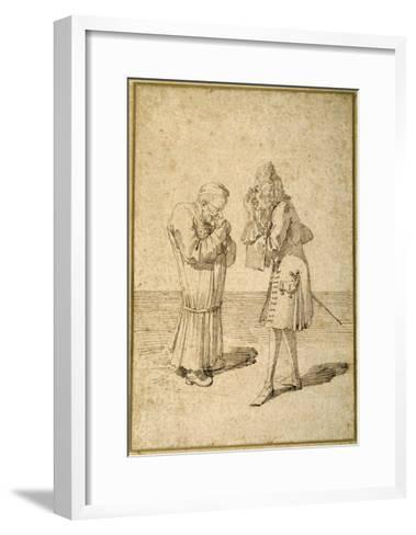 Baron Philip Von Stosch Showing an Antique Gem to Sabbatini-Pier Leone Ghezzi-Framed Art Print