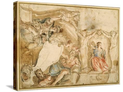 Allegorical Decoration for One Corner of a Coved Ceiling-Giovanni Francesco Romanelli-Stretched Canvas Print