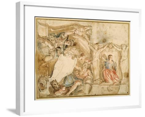 Allegorical Decoration for One Corner of a Coved Ceiling-Giovanni Francesco Romanelli-Framed Art Print