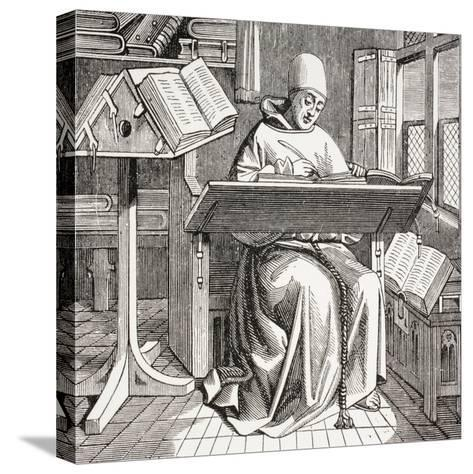 A Monk Scribe Surrounded by Manuscripts and Books at His Desk, after a 15th Century Work, from…--Stretched Canvas Print