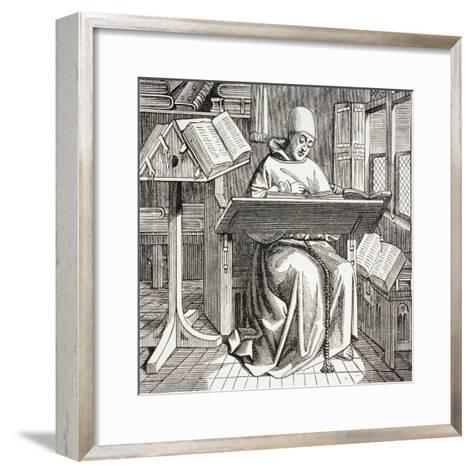 A Monk Scribe Surrounded by Manuscripts and Books at His Desk, after a 15th Century Work, from…--Framed Art Print