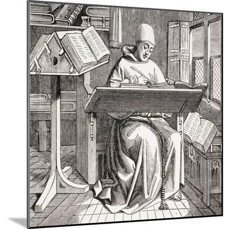 A Monk Scribe Surrounded by Manuscripts and Books at His Desk, after a 15th Century Work, from…--Mounted Giclee Print