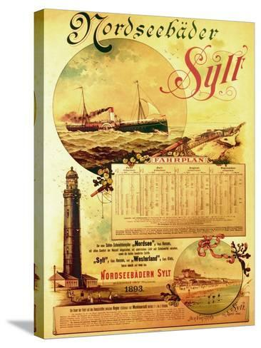 Sylt North Sea Baths', Poster Advertising the Sylt Steamship Company, 1893-German School-Stretched Canvas Print