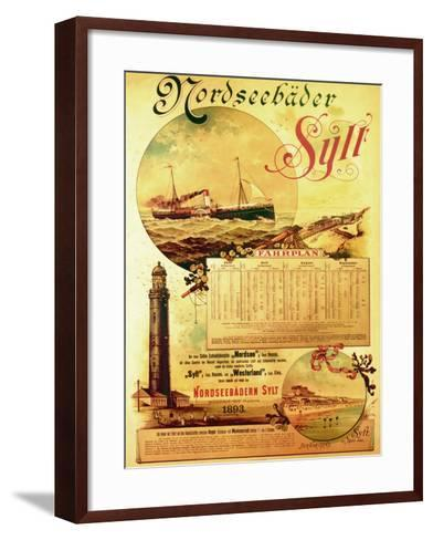 Sylt North Sea Baths', Poster Advertising the Sylt Steamship Company, 1893-German School-Framed Art Print
