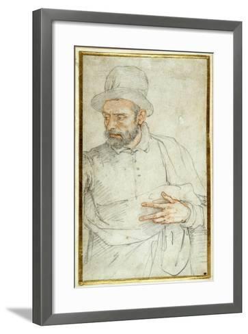 A Bearded Man, Half Length, Standing Dressed for the Street-Federico Zuccaro-Framed Art Print