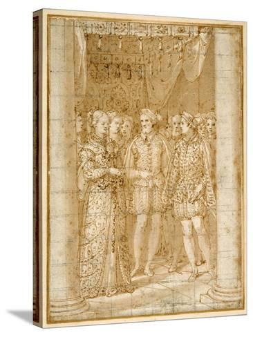 Betrothal of Ottaviano Farnese to Margaret of Parma, in the Presence of Henri II of France-Federico Zuccaro-Stretched Canvas Print