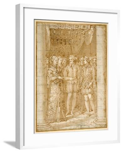 Betrothal of Ottaviano Farnese to Margaret of Parma, in the Presence of Henri II of France-Federico Zuccaro-Framed Art Print