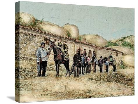 Hikers in San Jeronimo, Montserrat, Catalonia, Spain, from 'The Illustration', 1890-L. Urgelles-Stretched Canvas Print