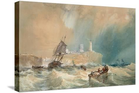A Trading Brig Running Out of Tynemouth-John Wilson Carmichael-Stretched Canvas Print