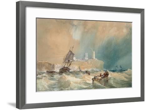 A Trading Brig Running Out of Tynemouth-John Wilson Carmichael-Framed Art Print