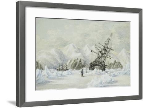 Hm Ships Enterprise and Investigator, Drifting Down Barrow Strait-Edward Adams-Framed Art Print