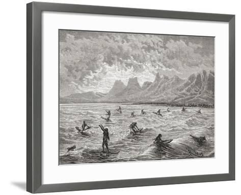Hawaiians Surfing, Illustration from 'The World in the Hands', Engraved by Charles Barbant…-?douard Riou-Framed Art Print