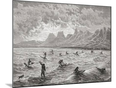 Hawaiians Surfing, Illustration from 'The World in the Hands', Engraved by Charles Barbant…-?douard Riou-Mounted Giclee Print