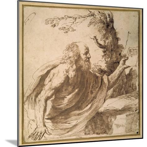 A Saint Reading in the Desert-Guercino (Giovanni Francesco Barbieri)-Mounted Giclee Print