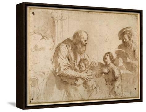 Two Boys Comforted by a Bearded Elder, While Another Bearded, Middle-Aged Man Reads a Book-Guercino (Giovanni Francesco Barbieri)-Framed Canvas Print