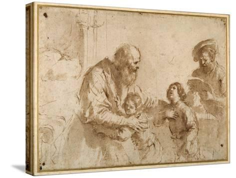 Two Boys Comforted by a Bearded Elder, While Another Bearded, Middle-Aged Man Reads a Book-Guercino (Giovanni Francesco Barbieri)-Stretched Canvas Print