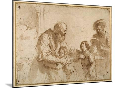 Two Boys Comforted by a Bearded Elder, While Another Bearded, Middle-Aged Man Reads a Book-Guercino (Giovanni Francesco Barbieri)-Mounted Giclee Print