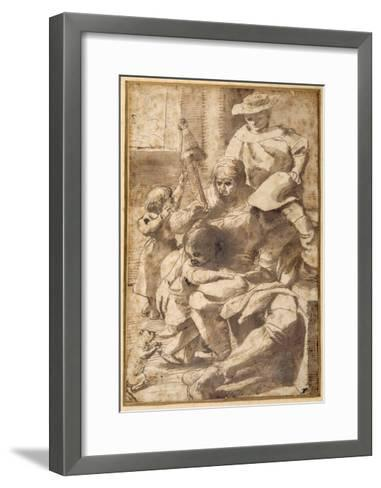 Family Group in an Interior-Pietro Faccini-Framed Art Print