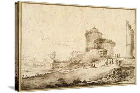 Landscape with a Broken Column, a Castle and Numerous Figures in the Foreground at the Right-Guercino (Giovanni Francesco Barbieri)-Stretched Canvas Print