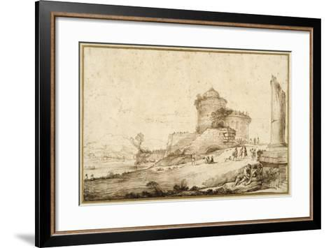 Landscape with a Broken Column, a Castle and Numerous Figures in the Foreground at the Right-Guercino (Giovanni Francesco Barbieri)-Framed Art Print