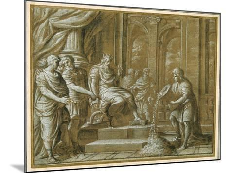 An Elderly King, Enthroned with Attendants in an Architectural Setting, and a Youth Pouring from…-Pietro Da Cortona-Mounted Giclee Print