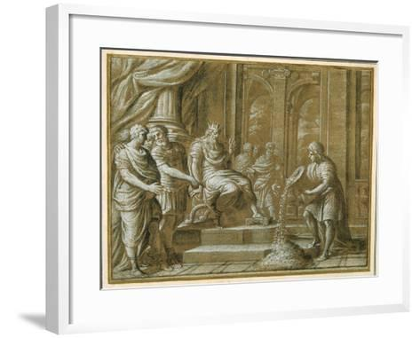 An Elderly King, Enthroned with Attendants in an Architectural Setting, and a Youth Pouring from…-Pietro Da Cortona-Framed Art Print