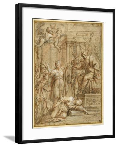 St. Bibiana Lies Martyred before the Prefect Apronianus-Pietro Da Cortona-Framed Art Print