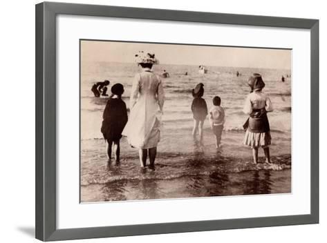 Family at the Beach, 1890--Framed Art Print