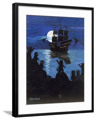 Pirate Pussies, C.1901-15-Louis Wain-Framed Art Print