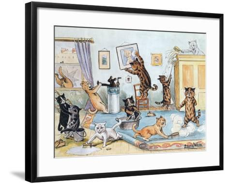 Spring Cleaning-Louis Wain-Framed Art Print