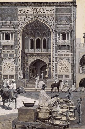 The Mosque of Nazir Khan, Lahore, C.1890-Harry Hamilton Johnston-Stretched Canvas Print
