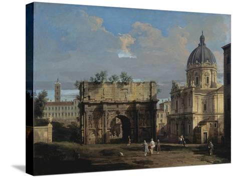 The Arch of Septimus Severus in Rome-Canaletto-Stretched Canvas Print
