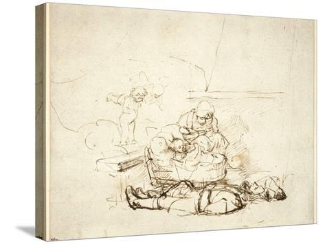 The Holy Family Sleeping, with Angels, 1645-Rembrandt van Rijn-Stretched Canvas Print