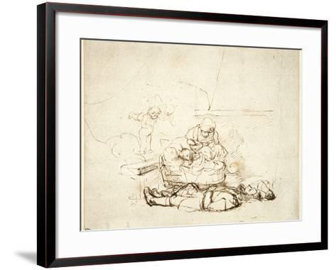 The Holy Family Sleeping, with Angels, 1645-Rembrandt van Rijn-Framed Art Print