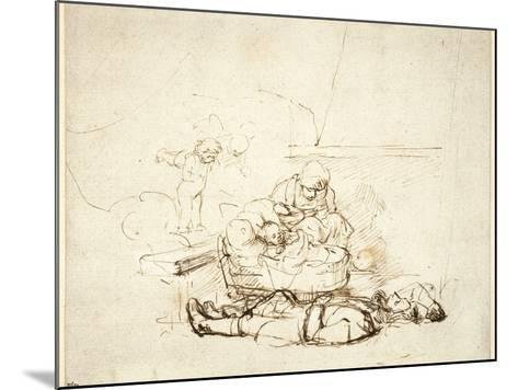 The Holy Family Sleeping, with Angels, 1645-Rembrandt van Rijn-Mounted Giclee Print