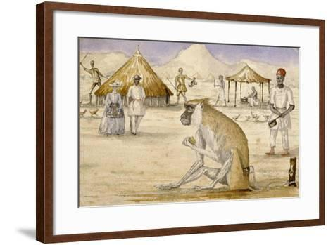 Watercolour of a Monkey with a Self-Portrait of the Artist and His Wife, Florence, C.1861-Sir Samuel Baker-Framed Art Print