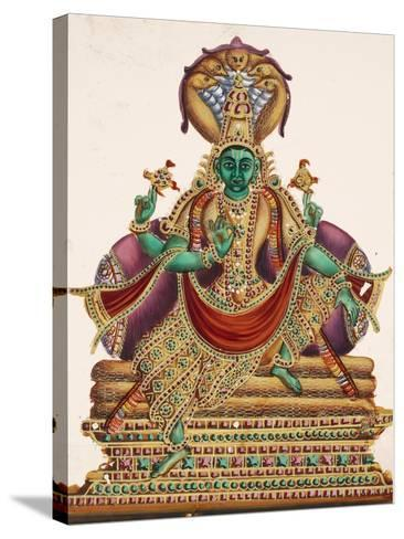 Vishnu, Sheltered by the Five-Headed Shesha, One of the Primal Beings of Creation, from…--Stretched Canvas Print