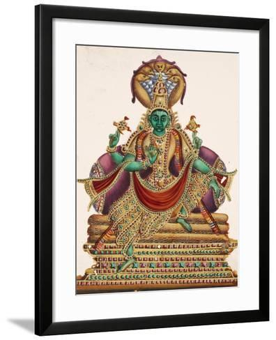 Vishnu, Sheltered by the Five-Headed Shesha, One of the Primal Beings of Creation, from…--Framed Art Print