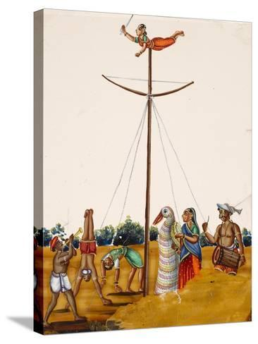 Scenes of Acrobatics During a Festival, from Thanjavur, India--Stretched Canvas Print