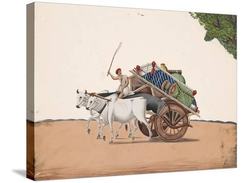 A Trader or Migrant on a Cart with His Belongings, Being Pulled by Two White Oxen, from…--Stretched Canvas Print