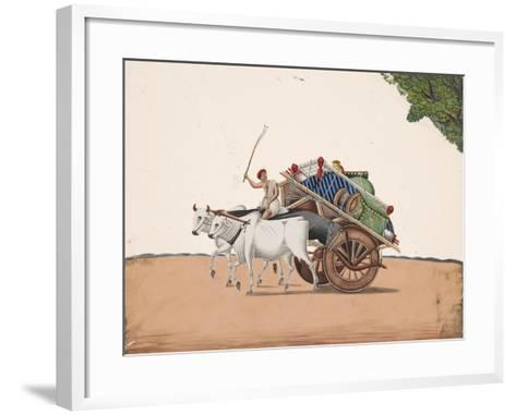 A Trader or Migrant on a Cart with His Belongings, Being Pulled by Two White Oxen, from…--Framed Art Print